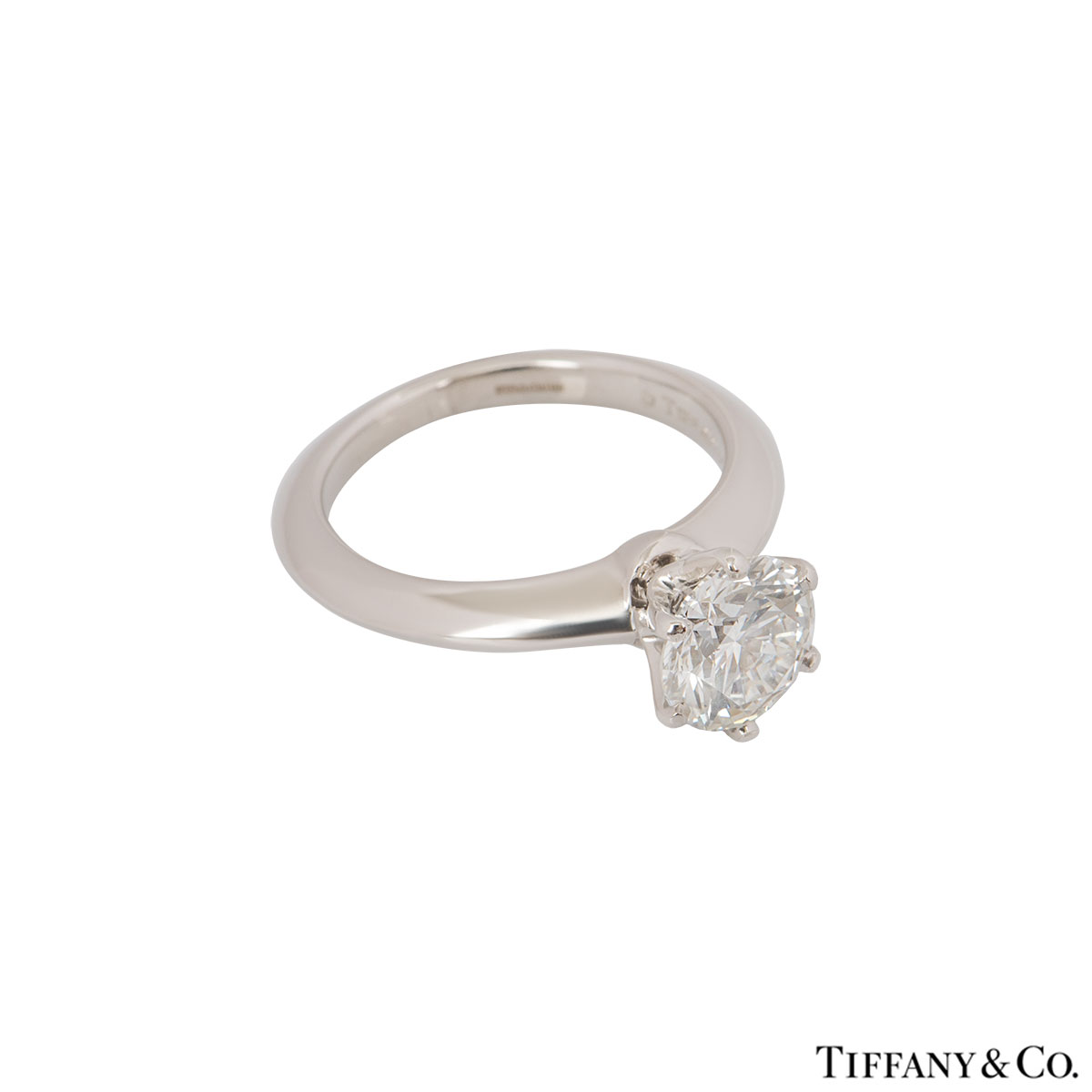 Tiffany & Co. Platinum Diamond Setting Ring 1.21ct H/VS2